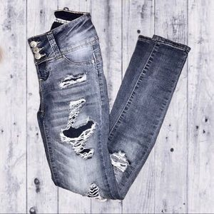 Dark Washed Distressed Jeans